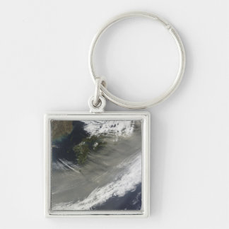 Dust over Japan Silver-Colored Square Keychain