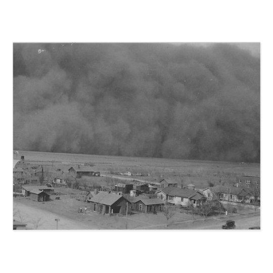 Dust Storm in Approching Rolla Kansas in 1935 Postcard