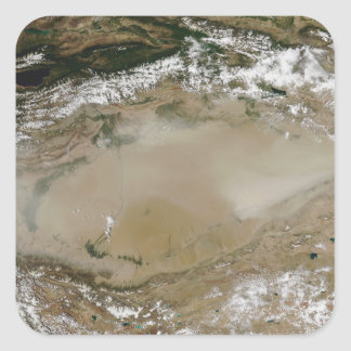 Dust storm in Taklimakan Desert, Western China Square Sticker