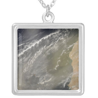 Dust storm off West Africa 2 Silver Plated Necklace