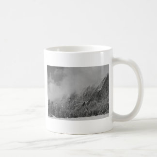 Dusted Flatirons Low Clouds Boulder Colorado BW Coffee Mug