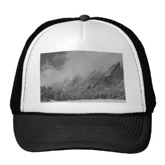 Dusted Flatirons Low Clouds Boulder Colorado BW Trucker Hats