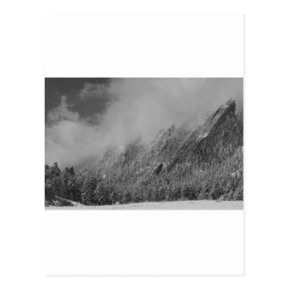 Dusted Flatirons Low Clouds Boulder Colorado BW Postcard
