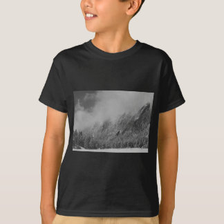 Dusted Flatirons Low Clouds Boulder Colorado BW T-Shirt