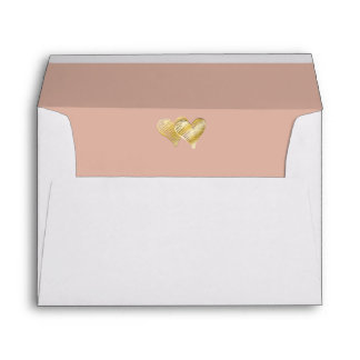 Dusted Rose Gold Embossed Double Heart Lined Envelope
