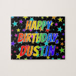 "[ Thumbnail: ""Dustin"" First Name, Fun ""Happy Birthday"" Jigsaw Puzzle ]"