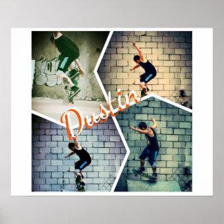 dustin skateboarding poster