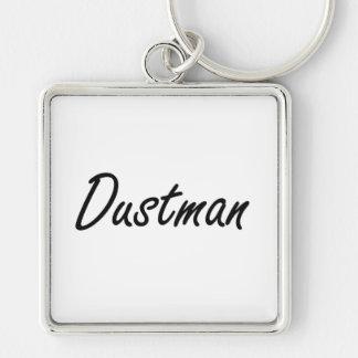 Dustman Artistic Job Design Silver-Colored Square Keychain