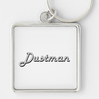 Dustman Classic Job Design Silver-Colored Square Keychain