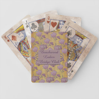 Dusty Amethyst Peonies on Gold Silk Bicycle Playing Cards