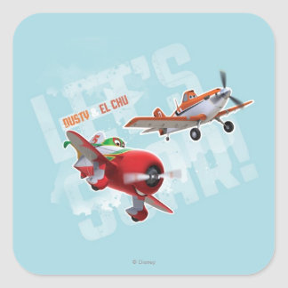 Dusty and El Chu - Let's Soar! Square Sticker