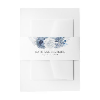 Dusty And Navy Blue Floral Wedding Invitation Belly Band