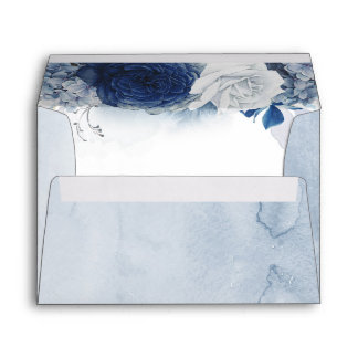Dusty and Navy Blue Romantic Modern Watercolor Envelope