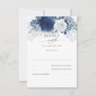 Dusty and Navy Blue Wedding RSVP