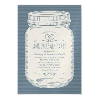 Dusty Blue 30th wedding anniversary Mason Jar Invitation