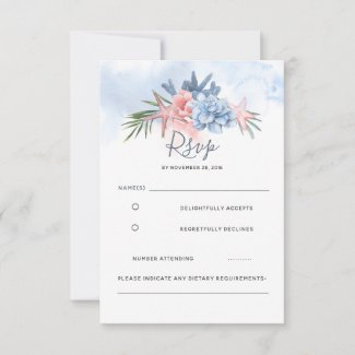 Dusty Blue and Blush Beach Wedding RSVP