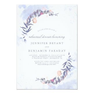 Dusty Blue and Blush Floral Rehearsal Dinner Card