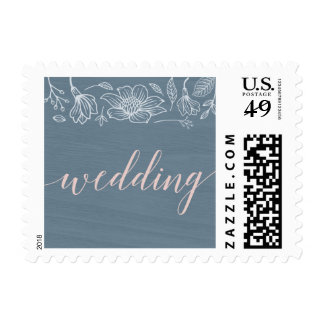 Dusty Blue and Blush Flowers Script Postage Stamps