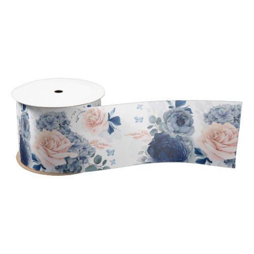 Dusty Blue and Blush Pink Floral Elegant Romantic Satin Ribbon