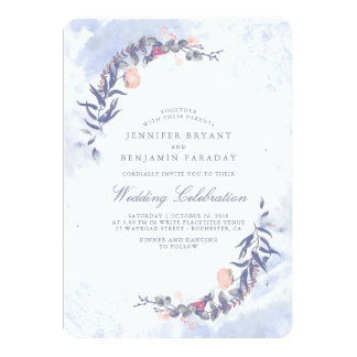 Dusty Blue and Blush Watercolors - Floral Wedding Card