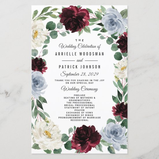 Dusty Blue and Burgundy Boho Fall Wedding Programs