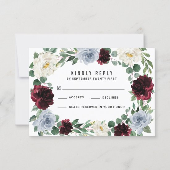 Dusty Blue and Burgundy Cranberry Fall RSVP Cards
