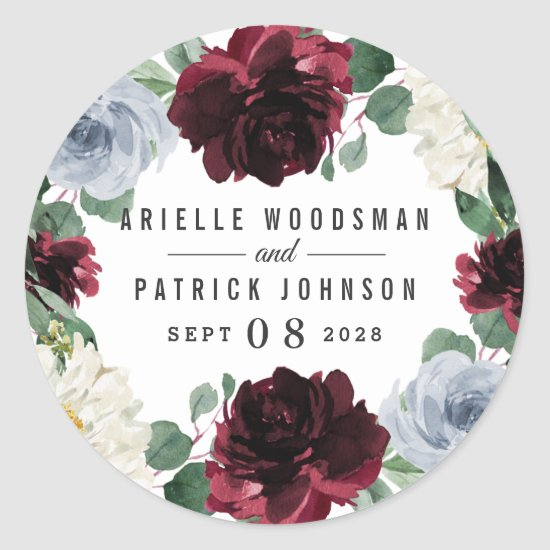 Dusty Blue and Burgundy Cranberry Fall Wedding Classic Round Sticker