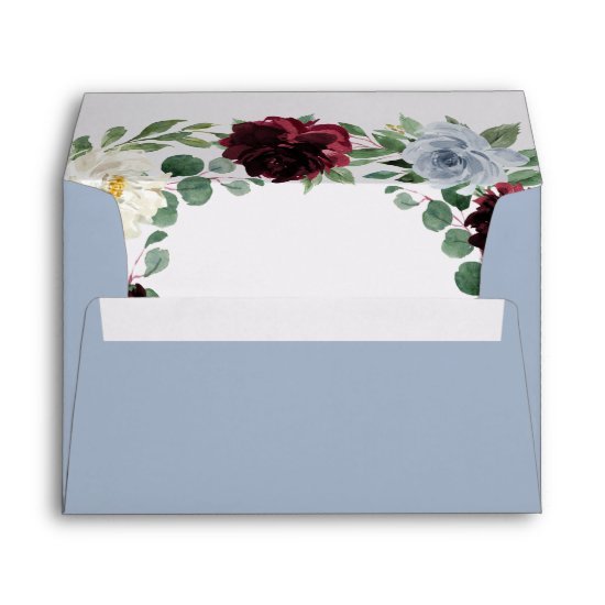 Dusty Blue and Burgundy Cranberry Fall Wedding Envelope