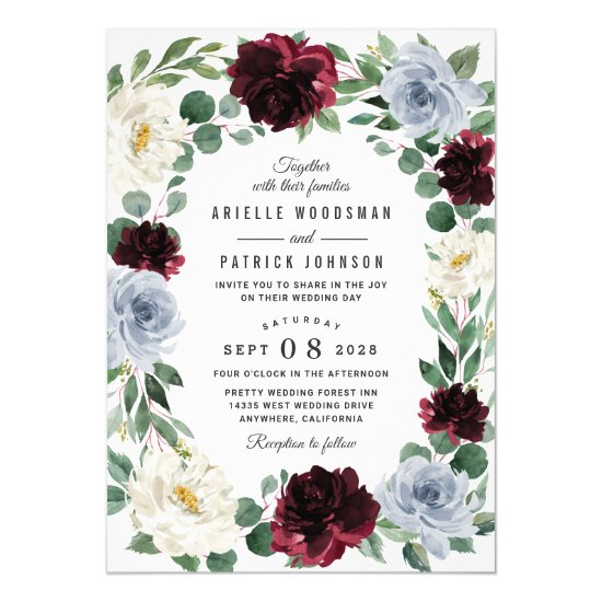 Dusty Blue and Burgundy Cranberry Fall Wedding Invitation