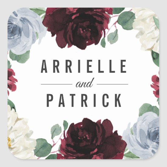 Dusty Blue and Burgundy Cranberry Fall Wedding Square Sticker