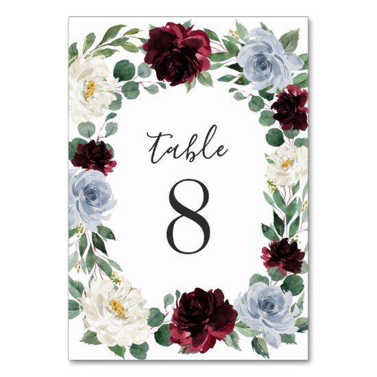 Dusty Blue and Burgundy Cranberry Fall Wedding Table Number
