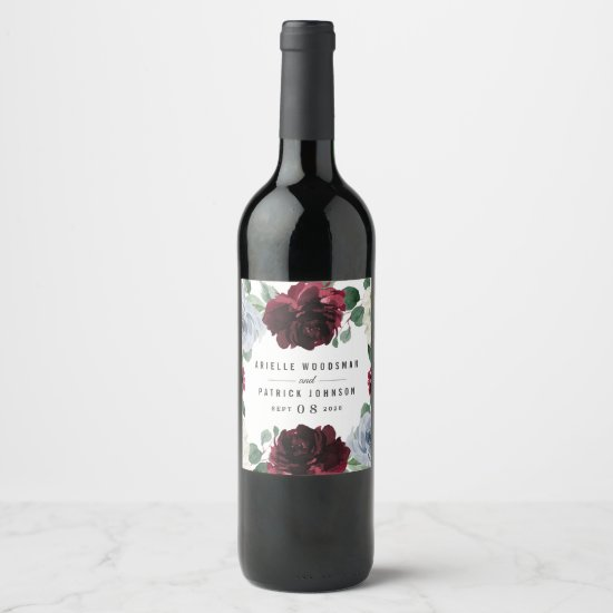 Dusty Blue and Burgundy Cranberry Fall Wedding Wine Label