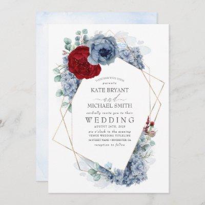 Dusty Blue and Burgundy Red Floral Elegant Wedding Invitation