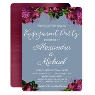 Dusty Blue and Cranberry Burgundy Engagement Party Card