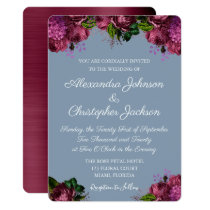 Dusty Blue and Cranberry Burgundy Wedding Invitation