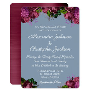 Dusty Blue And Cranberry Burgundy Wedding Invitation