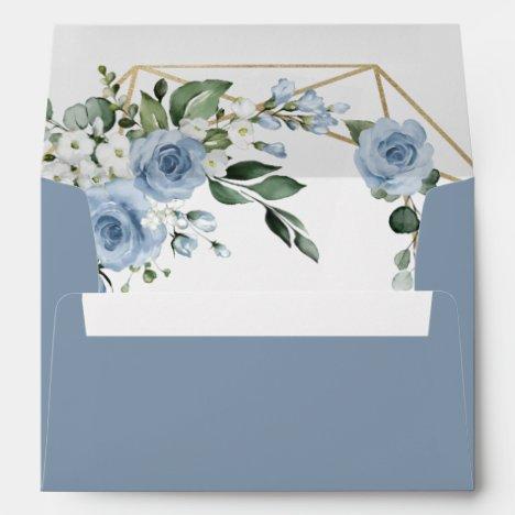 Dusty Blue and Gold Elegant Floral Rustic Wedding Envelope