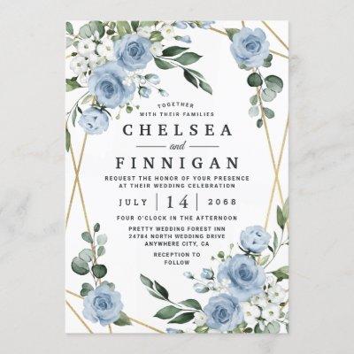 Dusty Blue and Gold Elegant Floral Rustic Wedding Invitation