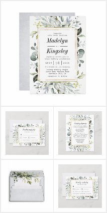 Dusty Blue and Gold Floral Wedding Invitations Set