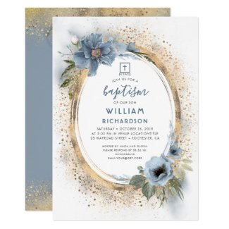 Dusty Blue and Gold Glitter Baptism Invitation