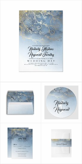 Dusty Blue and Gold Swirls Matching Wedding Invitation Set