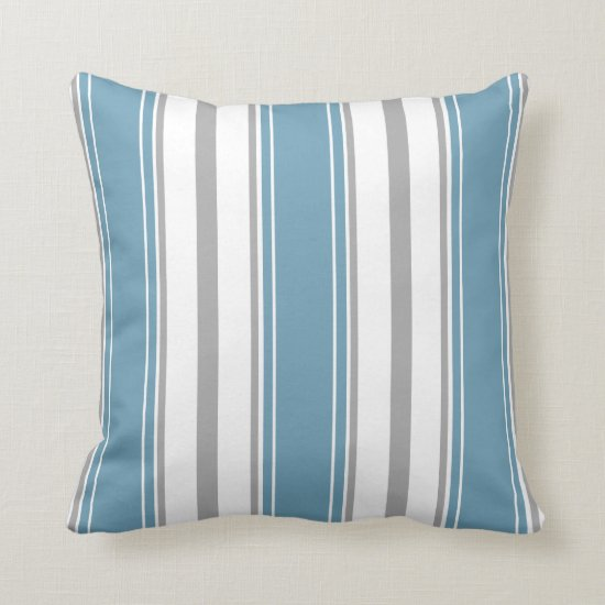 Dusty Blue and Light Gray White Stripes Pattern | Throw Pillow
