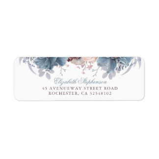 Dusty Blue and Mauve Floral Vintage Wedding Label