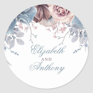 Dusty Blue and Mauve Floral Wedding Classic Round Sticker