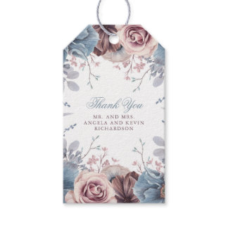 Dusty Blue and Mauve Floral Wedding Gift Tags