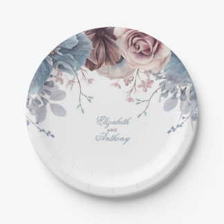 Dusty Blue and Mauve Floral Wedding Paper Plate