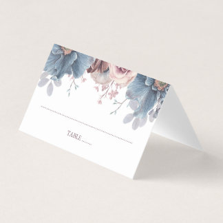 Dusty Blue and Mauve Floral Wedding Place Card