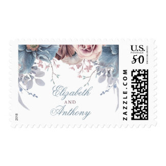 Dusty Blue and Mauve Floral Wedding Postage