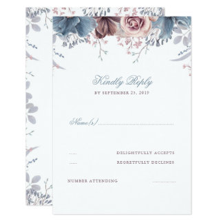 Dusty Blue and Mauve Floral Wedding RSVP Card