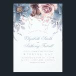 "Dusty Blue and Mauve   Watercolor Floral Wedding Card<br><div class=""desc"">Mauve and dusty blue (pale blue) flowers elegant vintage wedding invitations.</div>"